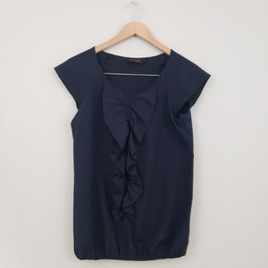 The Limited Ruffled Navy Blue Blouse in Size XS
